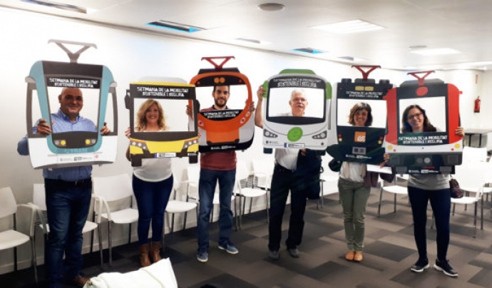 Persones voluntàries participants a la passada edició de la cursa de transports interurbana de Barcelona