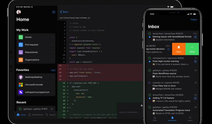 L'aplicació Github també es podrà utilitzar en una tauleta. Imatge de Github.  Font: Github