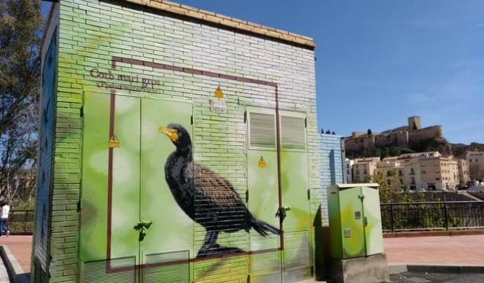 Graffiti que representen aus. Una de les propostes innovadores del Delta Birding Festival d'enguany Font: Roc Blackblock