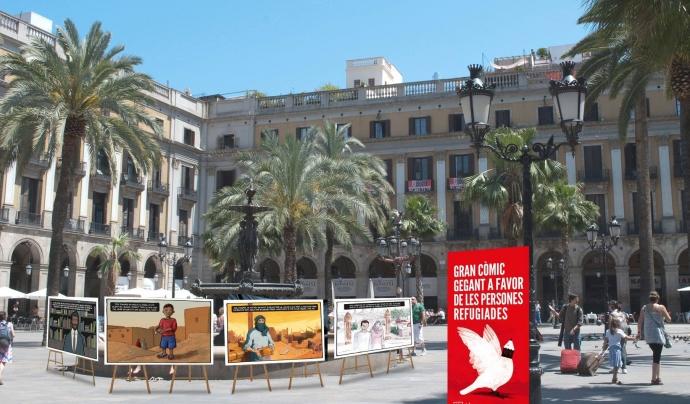 Còmic gegant en viu a la plaça Reial Font: Ajuntament de Barcelona