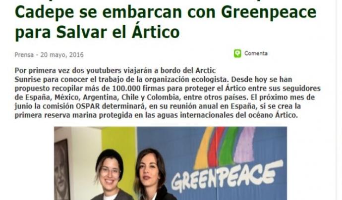 Les youtubers Yellew Mellow i Maria Cadepé es van embarcar a una expedició a l'Àrtic amb Greenpeace Font: Greenpeace