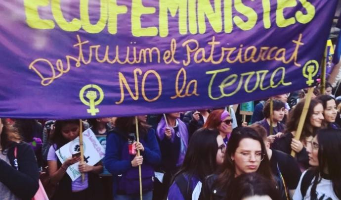 """El lema del bloc era """"Destruim el patriarcat, no la terra"""" Font: Climacció"""