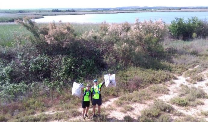 Un moment de l'etapa 4, corrent al costat del pantà d'Utxesa Font: Ultra Clean Marathon