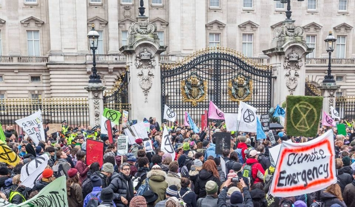 El moviment Extinction Rebellion apel·la a la desobediència civil per pressionar els governs a actuar contra el canvi climàtic Font: Exctinction Rebellion