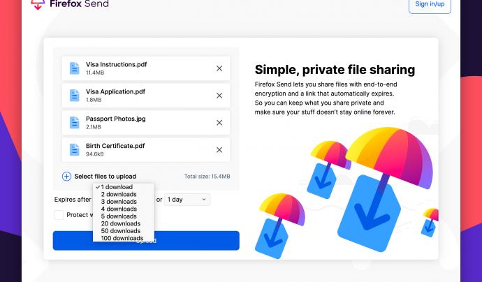 Podreu configurar diverses opcions de la descàrrega de fitxers a Firefox Send.  Font: Fundació Mozilla