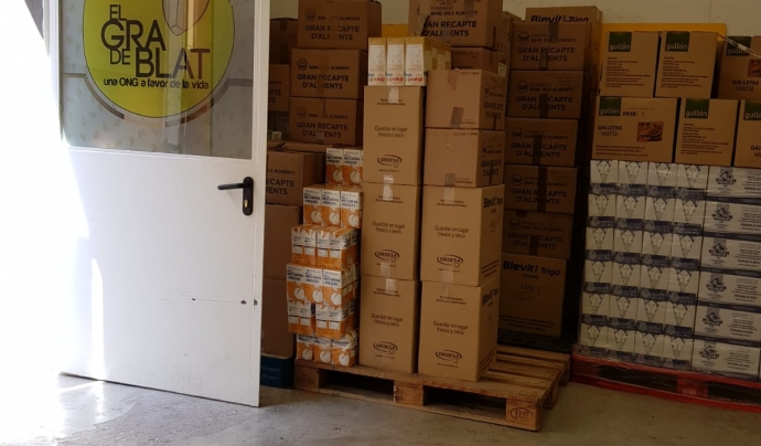 Gra de Blat compta amb un magatzem on organitzen el menjar i els productes d'higiene i de neteja. Font: Gra de Blat