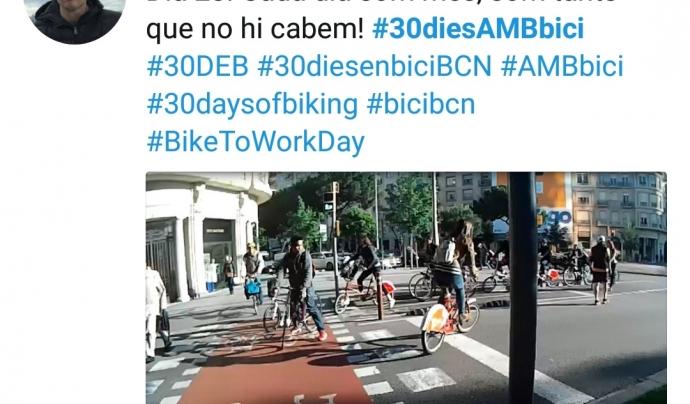 Piulada amb foto a Twitter d'un participant en la campanya #30diesenbici del 2017