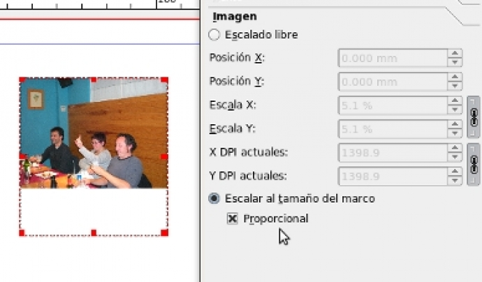 El procés d'inserció d'imatge és molt similar al d'inserir una caixa de text Font: Scribus
