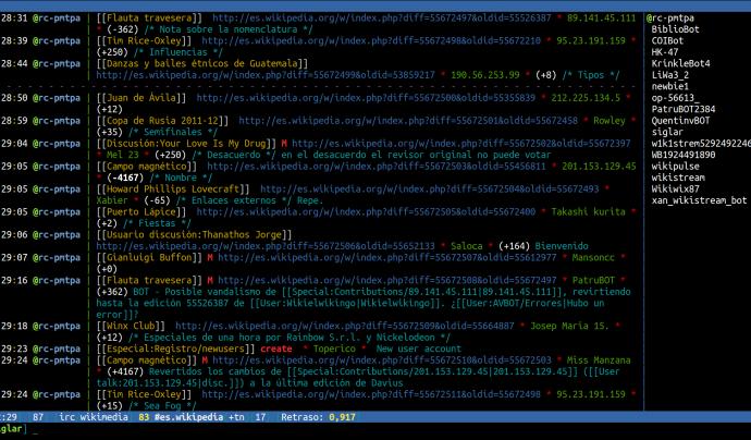 Captura de pantalla d'un client de IRC