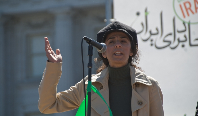 Masih Alinejad a San Francisco pel Iran Global Day of Action.