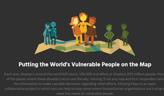 MissingMaps permet cartografiar llocs vulnerables del món per facilitar l'accés als equips humanitaris de Creu Roja i de Metges Sense Fronteres. Font: Missing Map