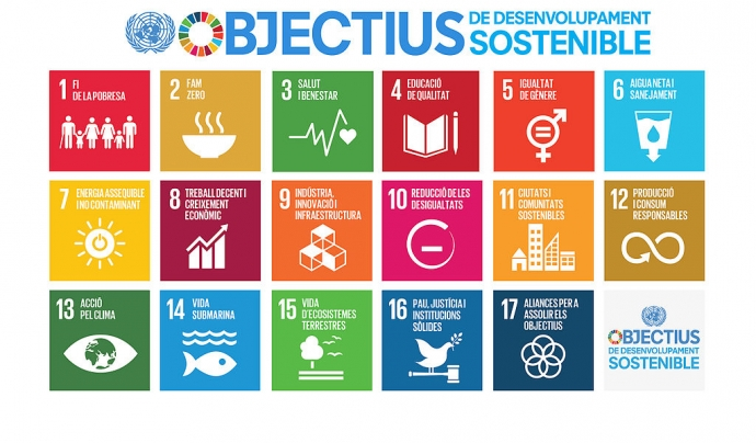 Els Objectius del Desenvolupament Sostenible configuren l'Agenda 2030 Font: mediambient.gencat.cat
