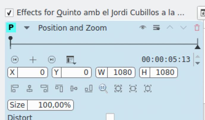 Captura pantalla efecte enquadrament kdenlive