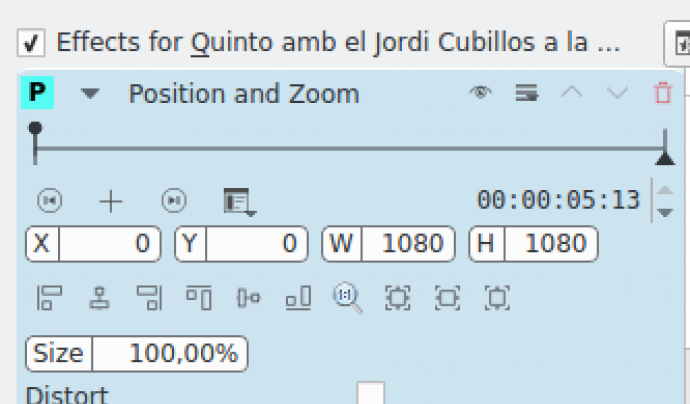 Captura pantalla efecte enquadrament kdenlive Font: Kdenlive