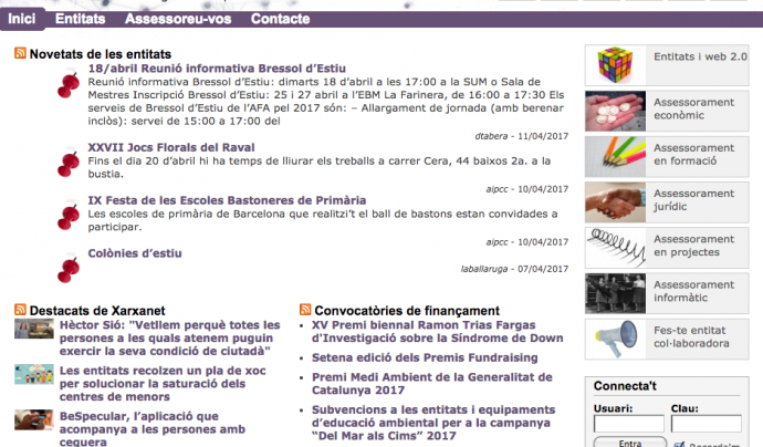 Captura de pantalla de la plataforma de blogs de xarxanet.org Font: Xarxanet