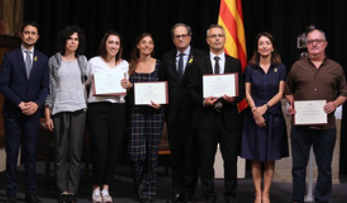 Foto de grup dels guanyadors i guanyadores dels Premis Medi Ambient 2018