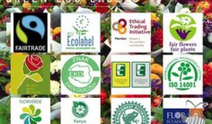 Etiquetes relacionades amb la producció sostenible de flor tallada  Font: Flower-grower.com