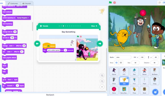 Amb Scratch 3.0 podreu consultar molts tutorials per aprendre a fer servir aquest entorn de programació.  Font: Scratch team/MIT Media Lab