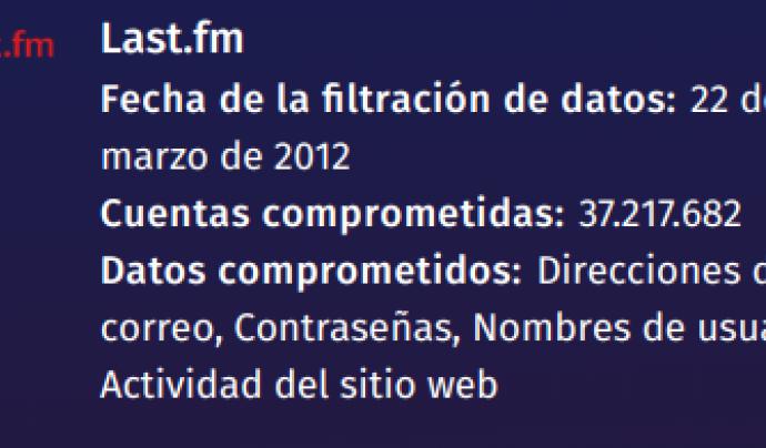 Informe que emet FIrefox Monitor Font: Fundació Mozilla