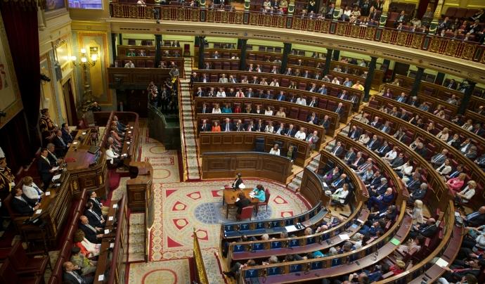 Congrés dels Diputats amb els diputats i diputades presents al ple. Font: Wikipedia