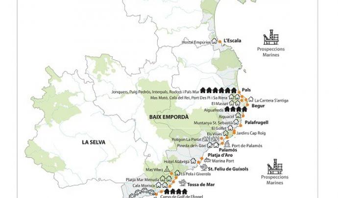 La Plataforma pretén fer front a més de 20 projectes d'impacte ambiental entre Llançà i Lloret de Mar Font: Sos Costa Brava
