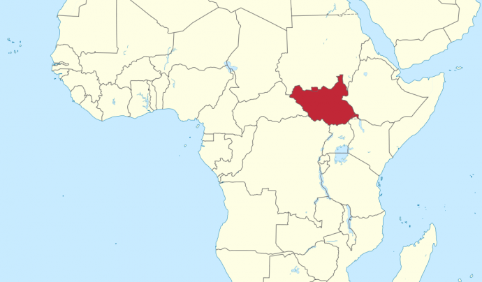 Mapa de Sudan del Sud.