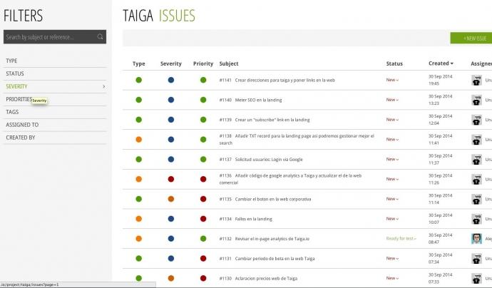 Captura de pantalla de Taiga.
