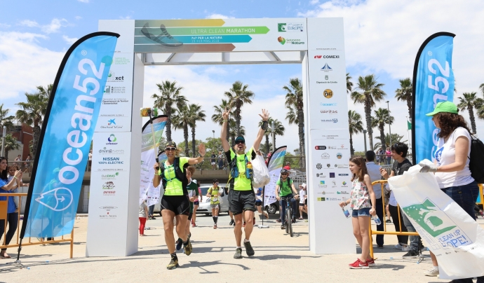 Nicole Ribera i Albert Bosch creuen la meta de la setena i última marathó de l'Ultra Clean Marathon Font: Eva Guillamet