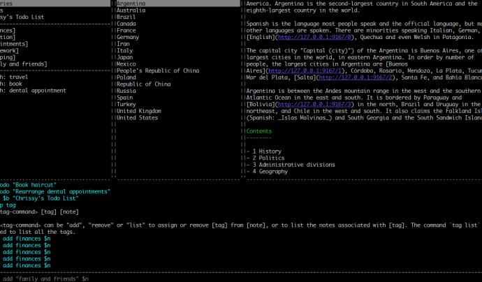 Captura de pantalla de la versió per terminal de Joplin