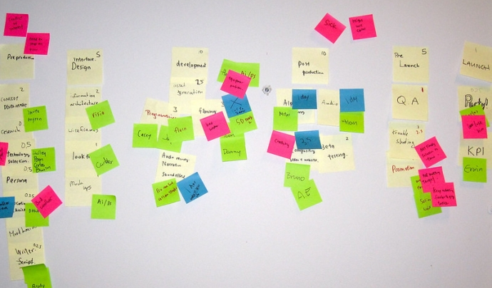 Sense eines de gestió de projectes, els post its són el recurs més eficaç. Imatge de VFS Digital Design. Llicèncìa d'ús CC BY 2.0 Font: VFS Digital Design. Llicèncìa d'ús CC BY 2.0