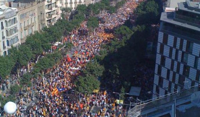 Vista aèria de la manifestació de 2012 Font: Josep Santacreu a Viquipèdia