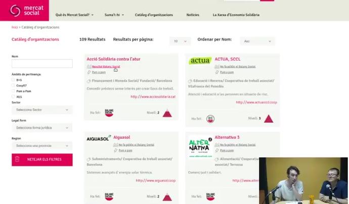 Ruben Suriñach presenta el Balanç Social, al webinar de xarxanet.org Font: Xarxanet
