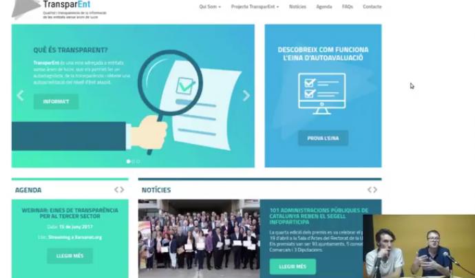 Pedro Molina presenta TransparENT, al webinar de xarxanet.org Font: Xarxanet