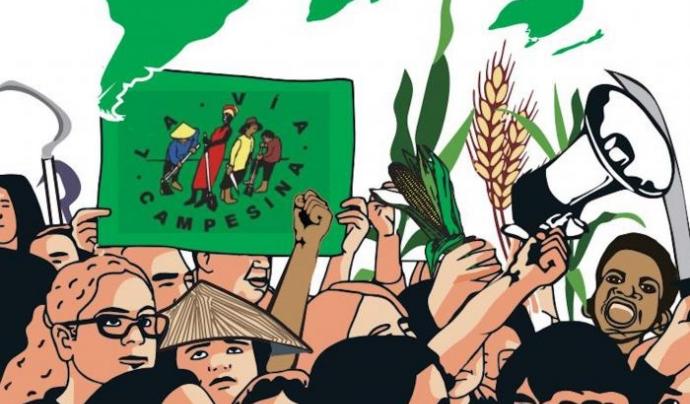 Il·lustració de la Via Campesina, l'organització que va encunyar el concepte de Sobirania Alimentària