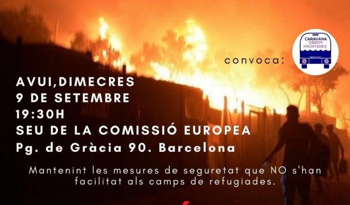 Cartell de la concentració urgent organitzada per Caravana Obrim Fronteres. Font: Twitter: @CaravanaObrim