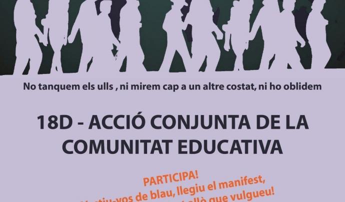 La comunitat educativa realitzarà el dilluns 18 de desembre una acció unitària amb motiu del Dia Internacional de les Persones Migrades.