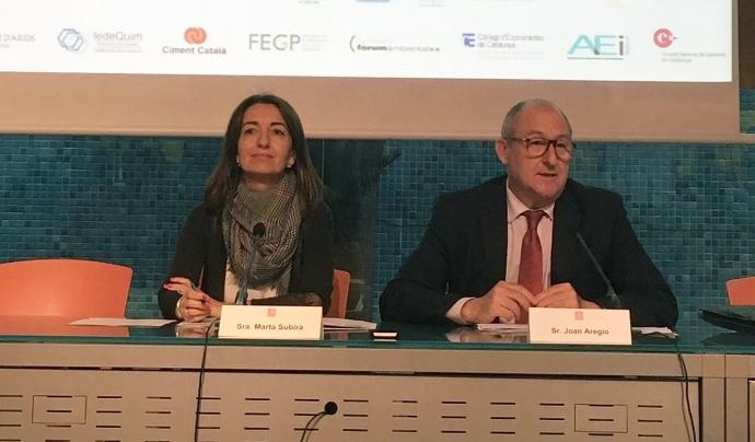 Marta Subirà i Joan Aregio en l'acte de presentació