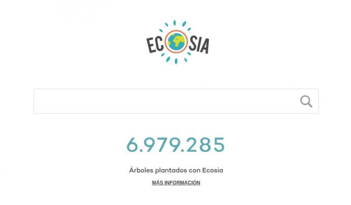 El cercador d'Ecosia és molt senzill d'utilitzar. Simplement heu de cercar el terme i ja sumareu un arbre.