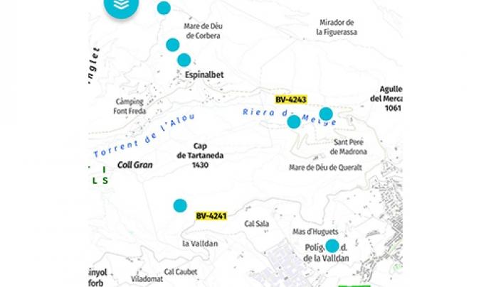 Les fonts es situen en un mapa Font: CercaFonts