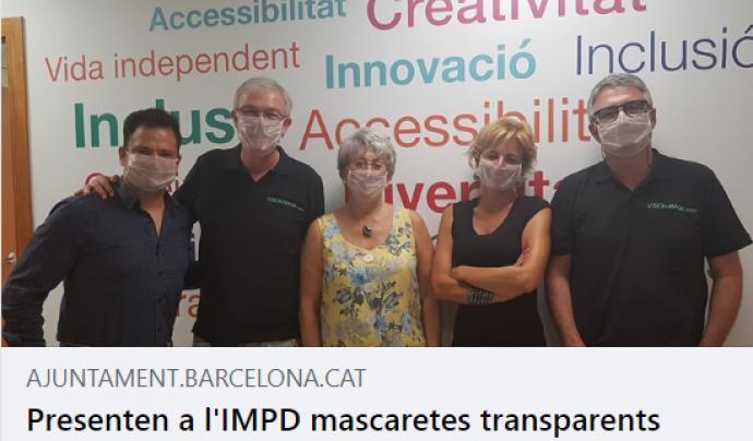 Presentació a l'IMPD de mascaretes transparents per facilitar la lectura labial, el passat juliol. Font: CERECUSOR