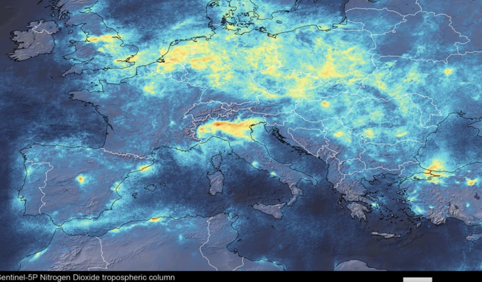 Els nivells de NO2 al nord d'Itàlia s'han reduït de manera abismal. Font: ESA