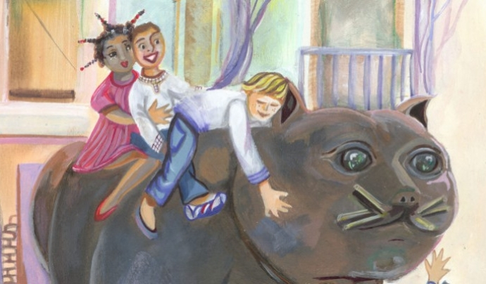 Dibuix que mostra uns infants a sobre del gat de Botero