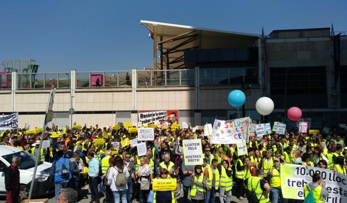 Les patronals dels centres especials de treball van convocar dues manifestacions per demanar més ajuts públics. Font: Dincat. Font: Dincat
