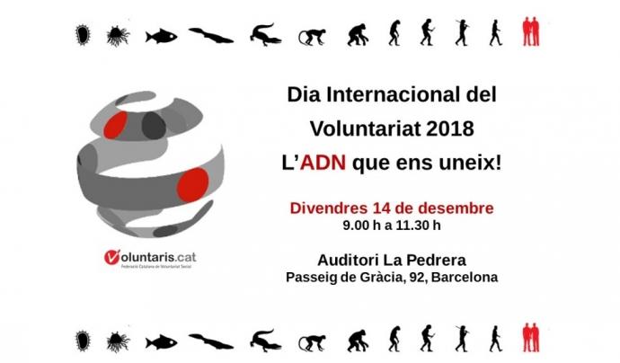 Cartell del Dia Internacional del Voluntariat a Barcelona.
