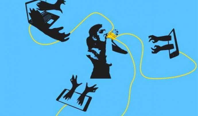 Imatge gràfica de la violència exercida contra les dones a Internet.