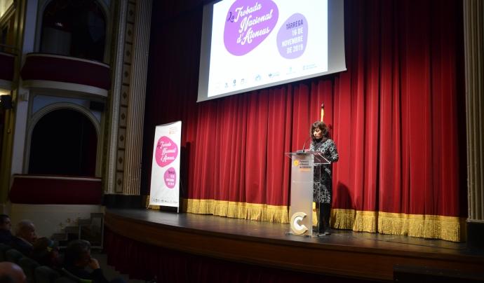 L'alcaldessa de Tàrrega, Alba Pijuan, dóna la benvinguda a la vila Font: Xavier Playà