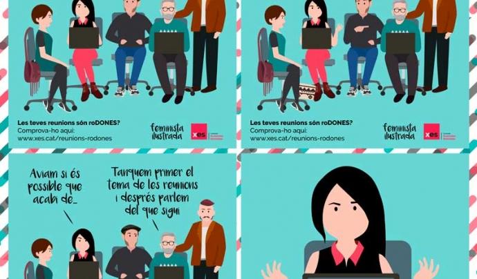 Il·lustració sobre manterrupting de Feminista ilustrada Font: Xarxa d'Economia Solidària