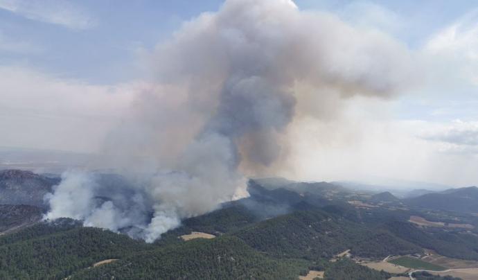 Incendi a Santa Coloma de Queralt aquest juliol. Font: Bombers