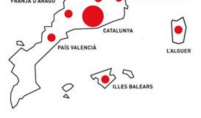 Les entitats del cens treballen a diversos poblacions de Catalunya, Balears, País Valencià, Catalunya Nord, Itàlia i Andorra.