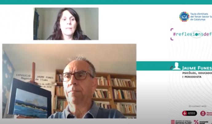 Imatge de l'entrevista en vídeo a Jaume Funes, psicòleg, educador i periodista. Font: Taula del Tercer Sector Social